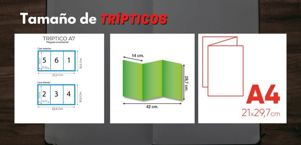 Tamaño de tripticos